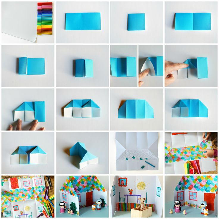 Make an adorable origami doll house in this easy step-by-step tutorial via Craft.tutsplus.com. Great school holiday boredom buster! #FreeTutorial #Craft #KidsCraft #Origami #Dollhouse