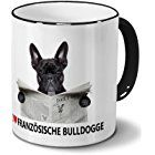 Hundetasse Französische Bulldogge - Tasse mit Hundebild Französische Bulldogge - Becher Schwarz