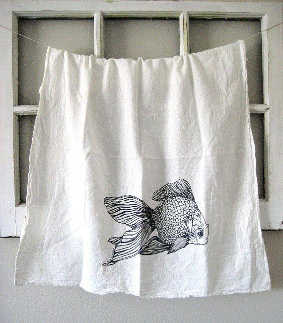 Torchon serviette de sac farine imprimé écran par ohlittlerabbit