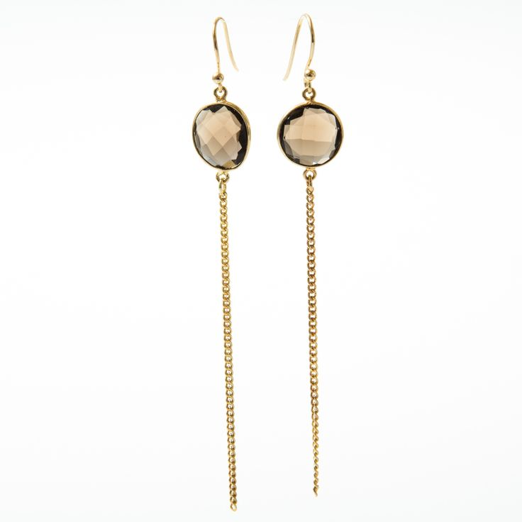 Vic vermeil earring with brown onyx