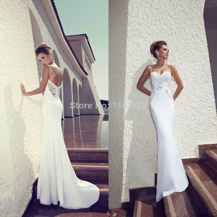 Find More Wedding Dresses Information about 2014 new sexy white Spaghetti straps sheath crystal beaded backless wedding dress bridal gown vestido de casamento do lago,High Quality dress love,China dress trunk Suppliers, Cheap gown evening dress from beautiful dream house on Aliexpress.com