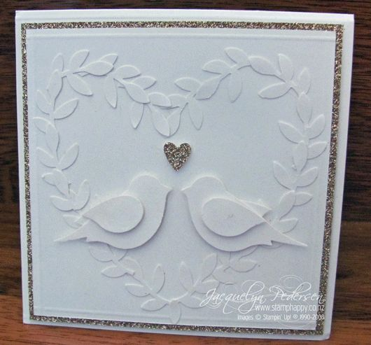 Stampin-up-bird-punch-wedding card by the fabulous Jacque P (soon to be Williams!)