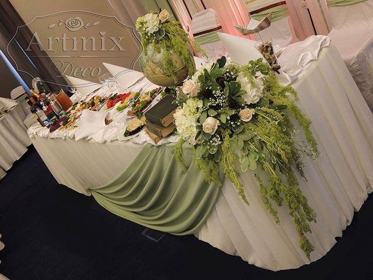 """Необычная свадьба в стиле """"Путешествия"""" В декоре использована тема путешествий по миру - глобус, карты, уникальные цветочные композиции из тропических цветов."""