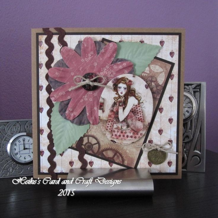 Heike's For You card made with new SANTORO'S Willow craft collection