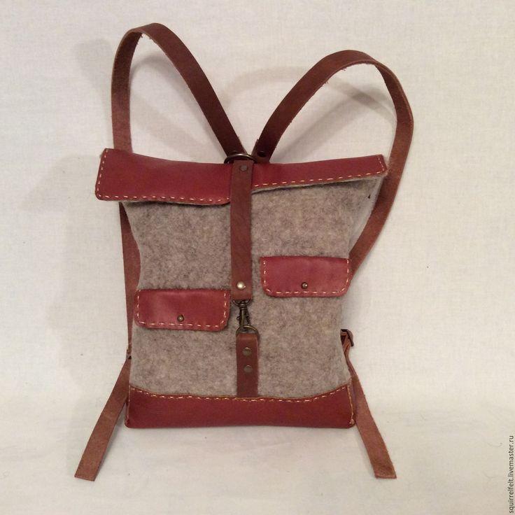 Купить Валяная сумка-ранец Домишко - коричневый, валяная сумка, Валяние, Мокрое валяние, сумка