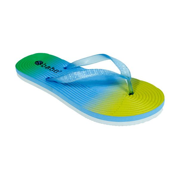 Babe Blue Rainbow Flip-Flop ($5.99) ❤ liked on Polyvore featuring shoes, sandals, flip flops, blue flip flops, synthetic shoes, rainbow footwear, rainbow shoes and rainbow sandals