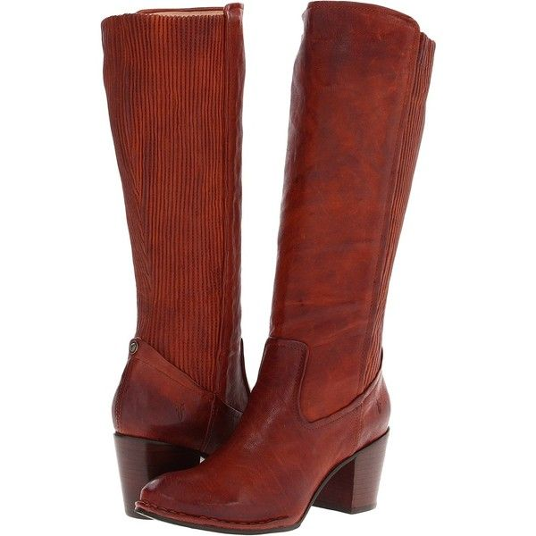 Frye Lucinda Scrunch Women's Pull-on Boots, Tan (405 CAD) ❤ liked on Polyvore featuring shoes, boots, knee-high boots, tan, leather boots, frye boots, genuine leather boots, leather knee boots y tan knee high boots