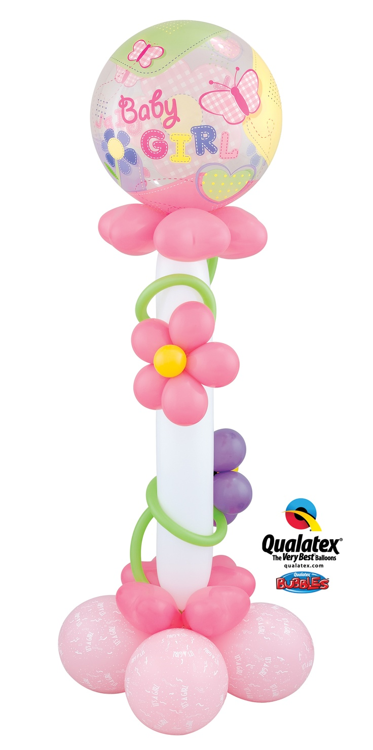 """The """"Butterfly Stitches"""" balloon delivery features a 646Q, a Bubble Balloon, and cute handmade """"flowers."""" Great for shower decor or a welcome baby gift! #balloons #baby"""