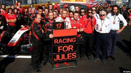 l'équipe Marussia rend hommage à son pilote Jules Bianchi suite à son accident lors du GP de Suzuka 2014
