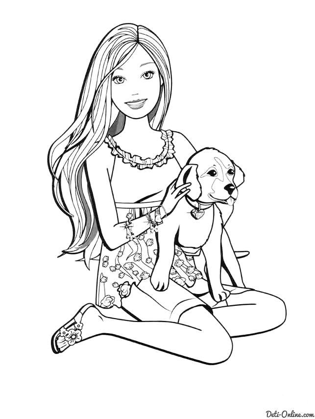 Раскраска Барби подарили собаку   Dog coloring page ...