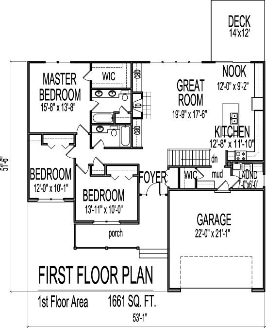 1661 square foot ranch house plans pinterest bonus for Ranch floor plans with bonus room