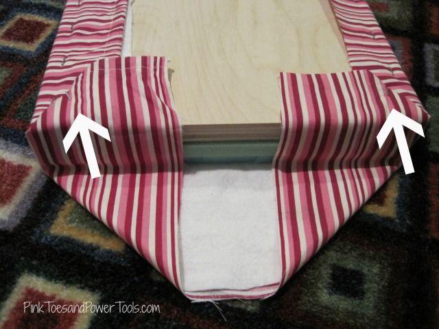 Upholstered footstool--envelope fold for nice corners
