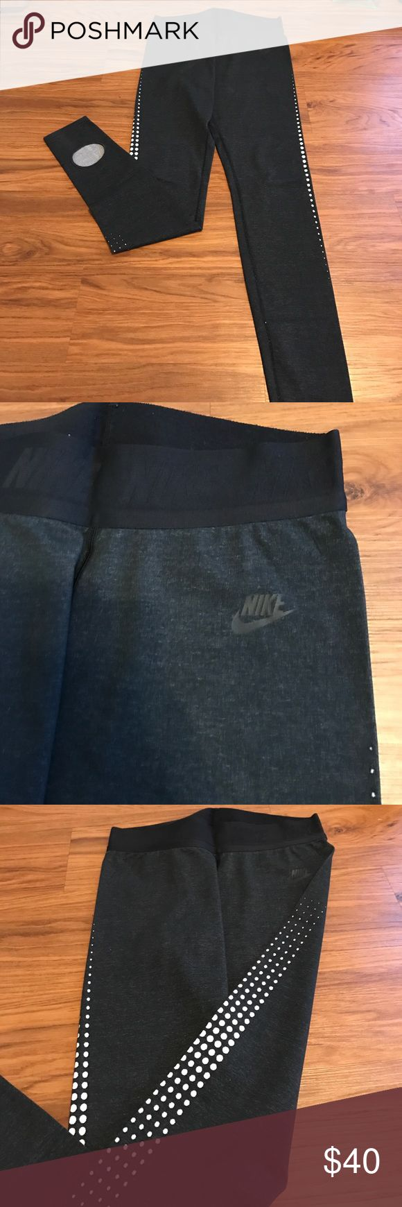 Nike Running Tights with holes for heels Hardly worn Marled black color wig white dot side design Nike Pants Leggings