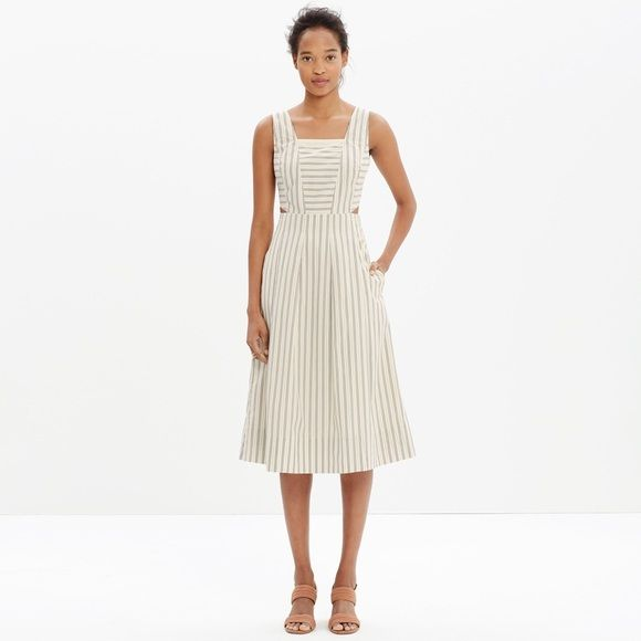 """Madewell Cutout Sundress in Stripe Product Detail: Your basic warm-weather dream dress, this design-team favorite has discreet cutouts at the sides to reveal just a hint of skin. Playfully positioned stripes give a nod to men's shirting as well.   True to size, waisted. Falls 44 1/2"""" from shoulder. Cotton. Pockets. Machine wash. Madewell Dresses Midi"""
