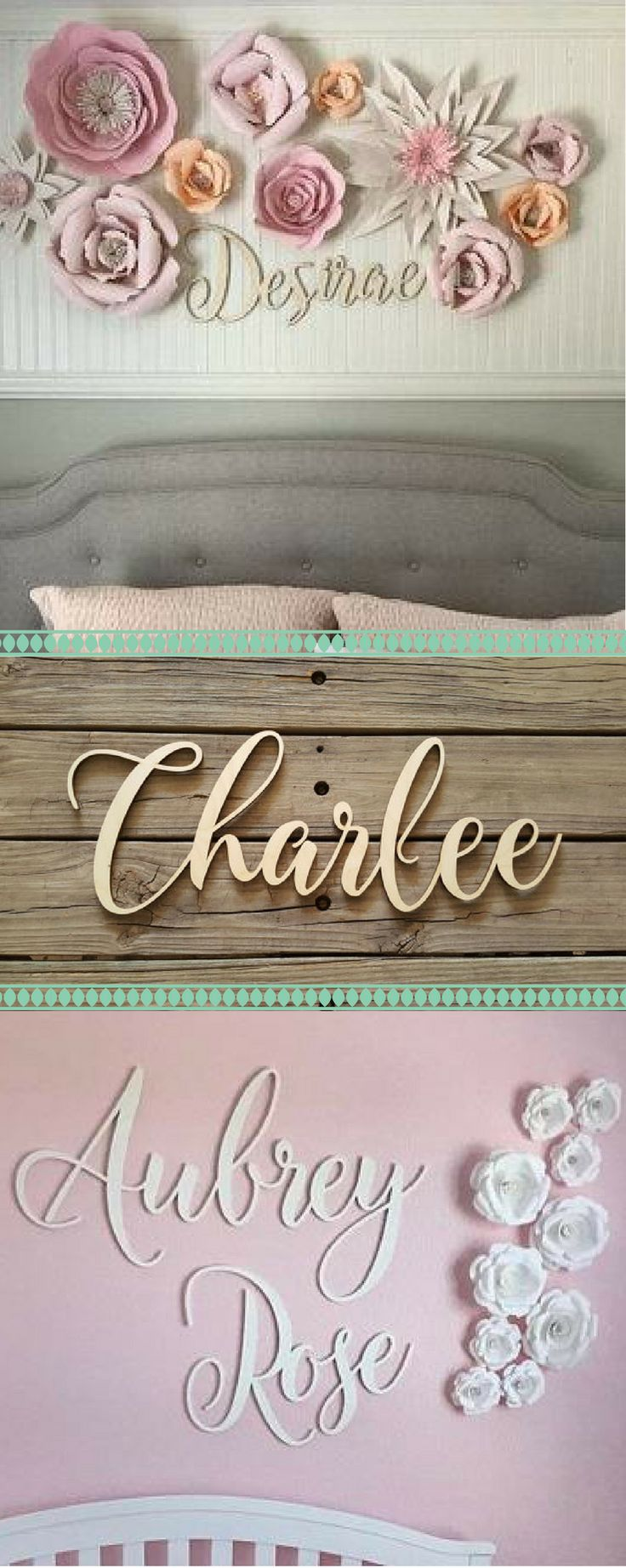 Cool cursive decal! This is a great idea for name décor for my baby girl's nursery ♡ Maybe I could DIY this wood sign… #ad