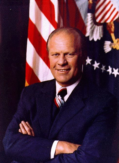Gerald R. Ford (1913-2006) 38th President who served from 1974 to 1977. He was the President that pardoned Nixon from prosecution connected with the Watergate Scandal which some people felt cost him the 1976 Presidential Election.