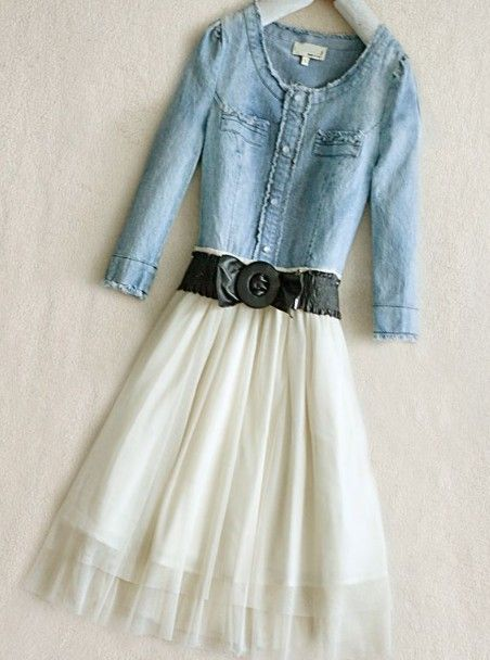 Blue Round Neck Long Sleeve Single Breasted Bow Denim Dress - Sheinside.com