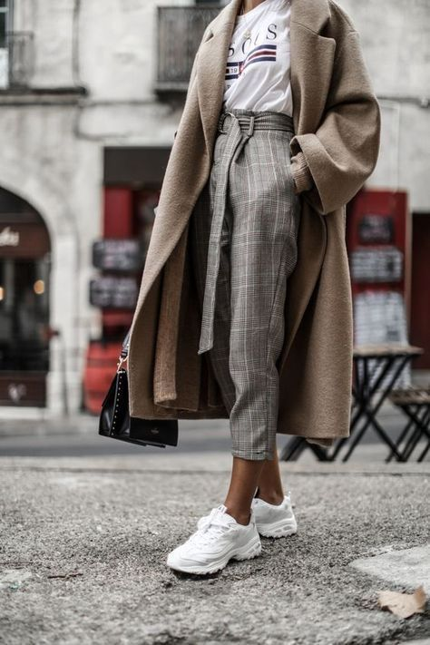 Fashion | Fashion outfits | Fashion ideas | Fall fashion | Fall aesthetic | Neutral outfits | – | #white #tshirt #grey #checked #paperbagtrousers #brown #coat #sneakers