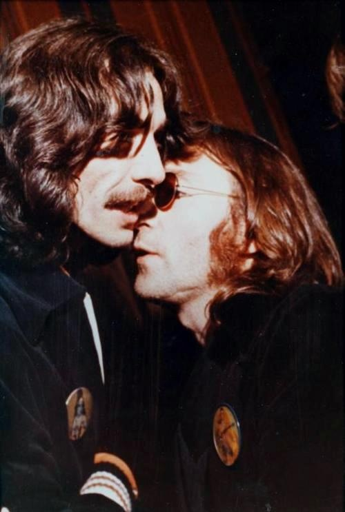 John with George Harrison in 1974,.John was going to play on stage with George on the last night of George's 1974 North American Tour at Madison Square Garden,but after a falling out, John sadly doesn't turn up. This is the last known photograph of them together.