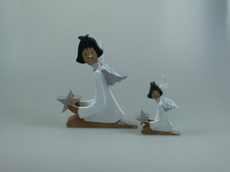 Weihnachtsdeko - Figur aus Holz - Engel mit Stern - ein Designerstück von mw-holzkunst bei DaWanda
