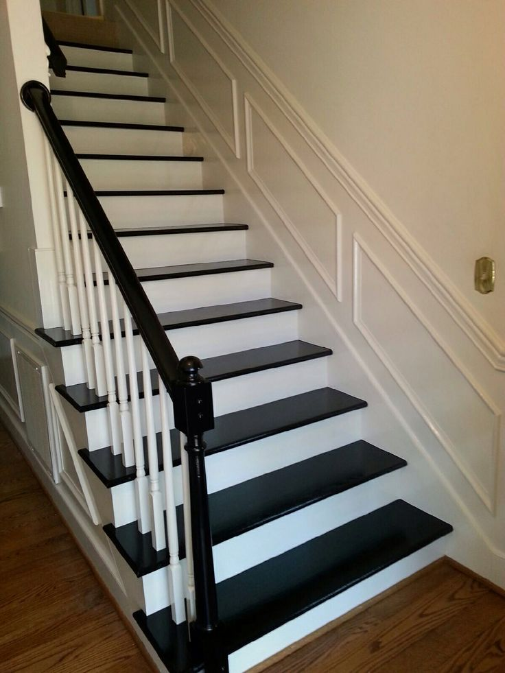 Black painted staircase and arm rail after carpet removed ...
