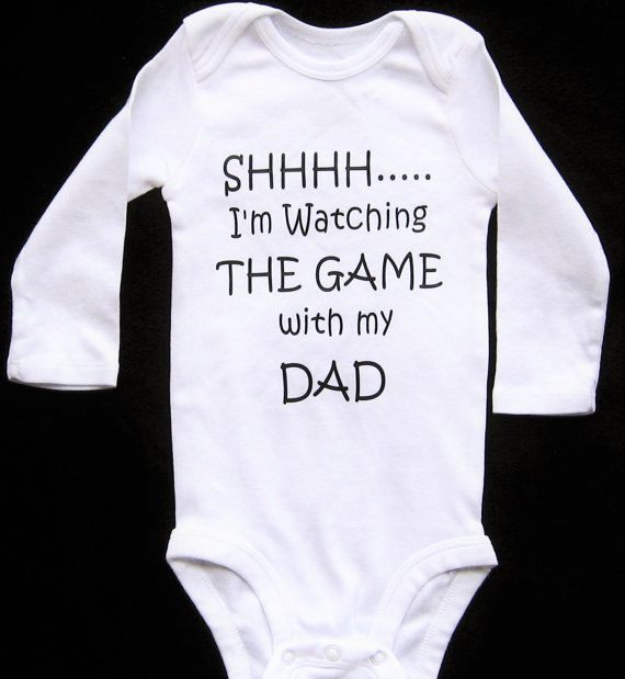 Best 25 funny baby gifts ideas on pinterest funny baby shower personalize shhh im watching the game with my dad long sleeve personalized baby funny negle Images