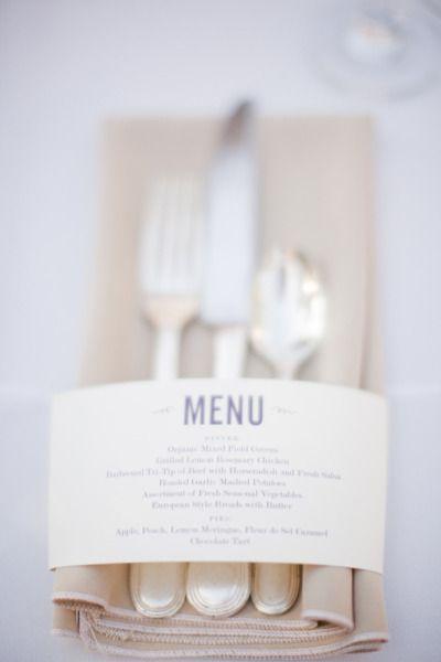 Menu ~ cutlery ~ gorgeous