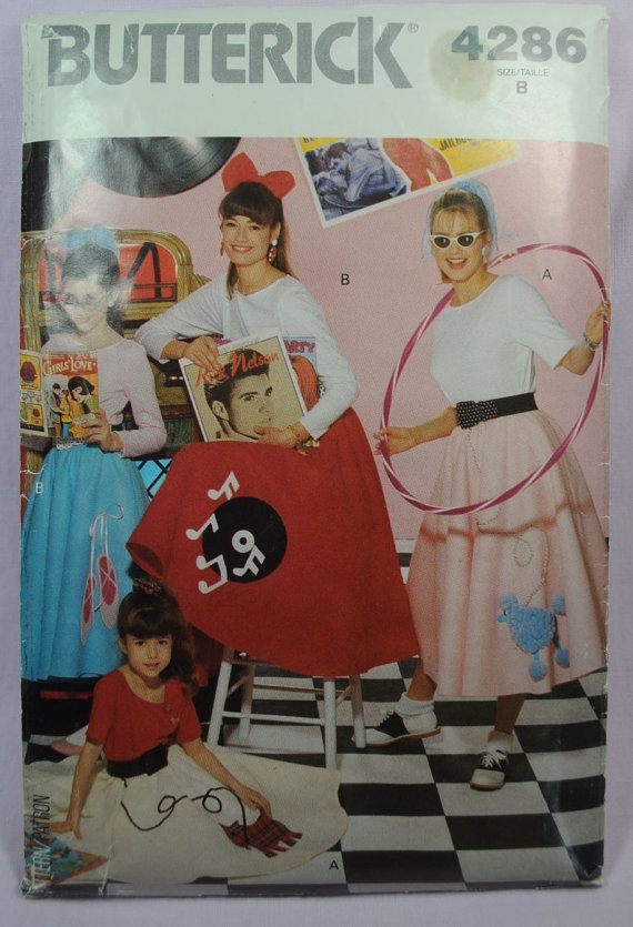 Butterick 4286  Cute Girls 50s Costume Poodle Skirt by Clutterina