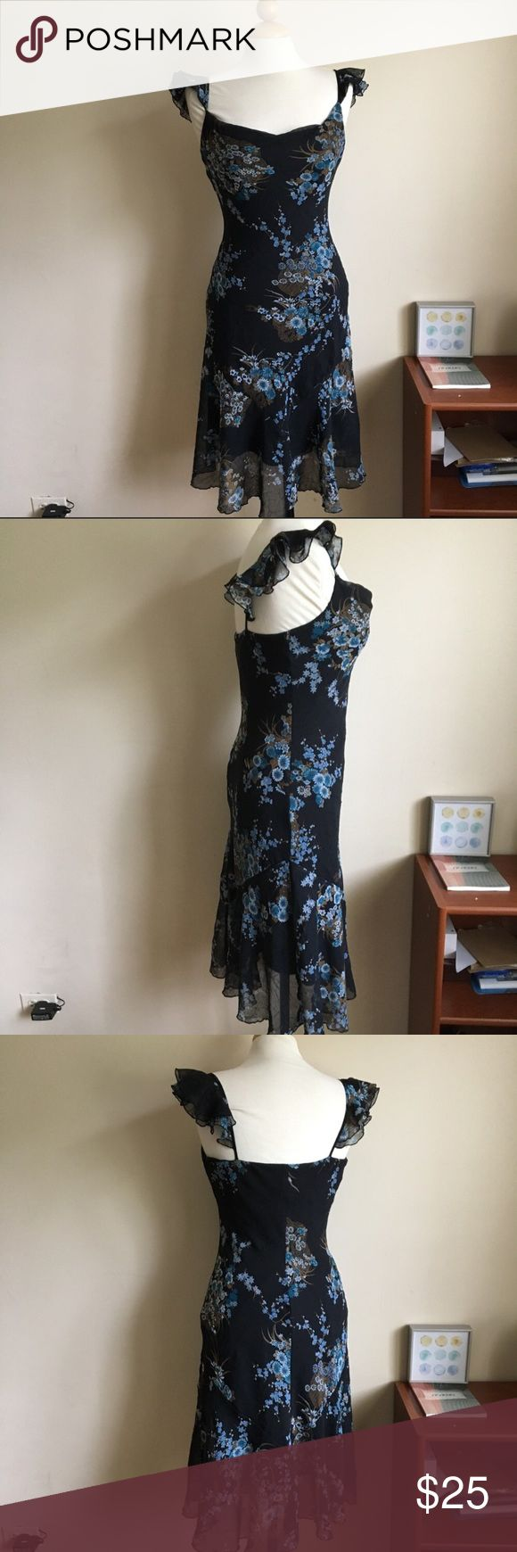 Be Smart Black Floral Spaghetti Strap Maxi Dress Black dress with light blue floral pattern. Ruffling around shoulder straps. Lining has some stretch. Sheath style is very flattering. Excellent used condition. Size tag reads 9/10. Live long and poshper 🖖🏼 Be Smart Dresses Maxi