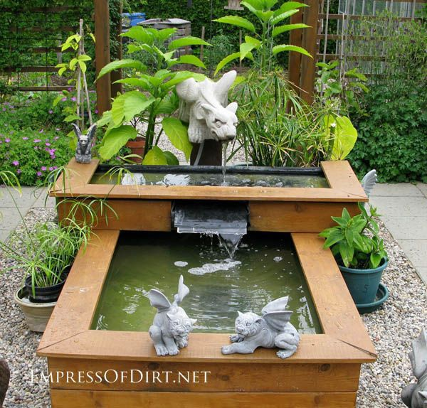 Creative DIY garden container ideas - Pond built in a raised bed with waterfall