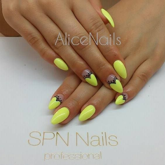 tak słonecznie! :) SPN: UV LaQ 624 Sour Lemon & Black Devil Paint Gel Nails by: Alicja Koziołek AliceNails SPN Team