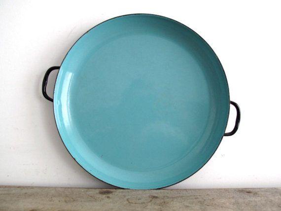 Vintage Blue Enamel Plate With Black Trim Turquoise Metal