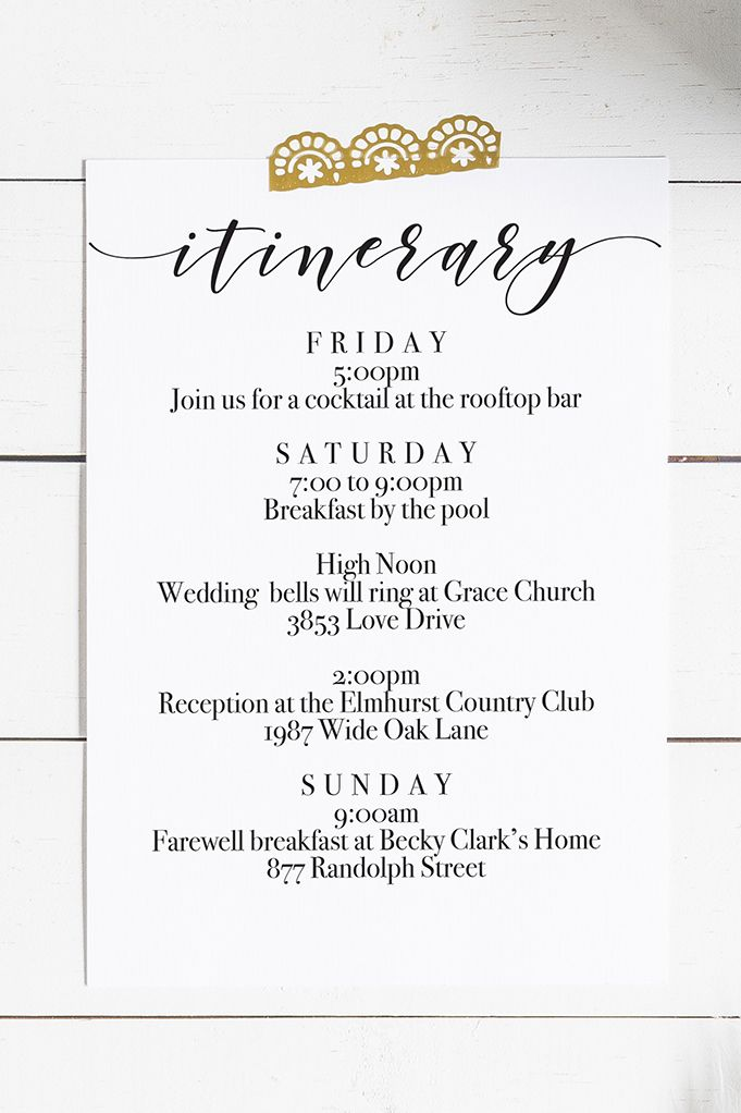 Printable Wedding Itinerary Free Download Wedding Itinerary Wedding Weekend Itinerary Wedding Guest Bags