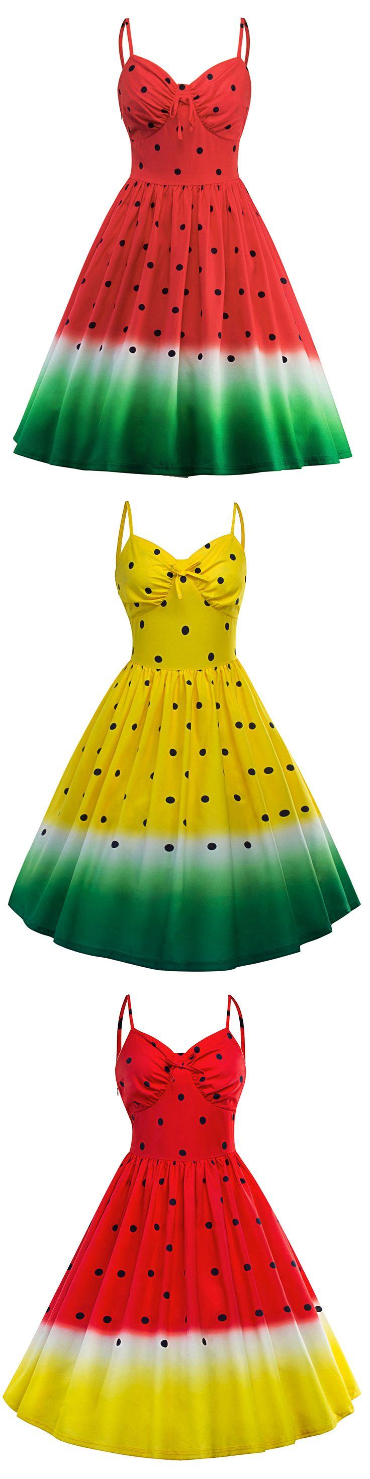 Spaghetti Strap A Line Watermelon Print Dress