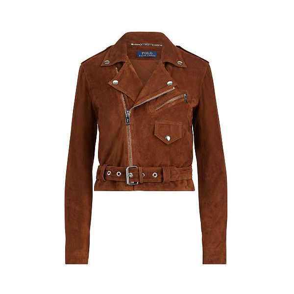 Polo Ralph Lauren Suede Moto Jacket ($798) ❤ liked on Polyvore featuring outerwear, jackets, ralph lauren jacket, brown suede jackets, brown biker jacket, cropped jacket and cropped moto jacket