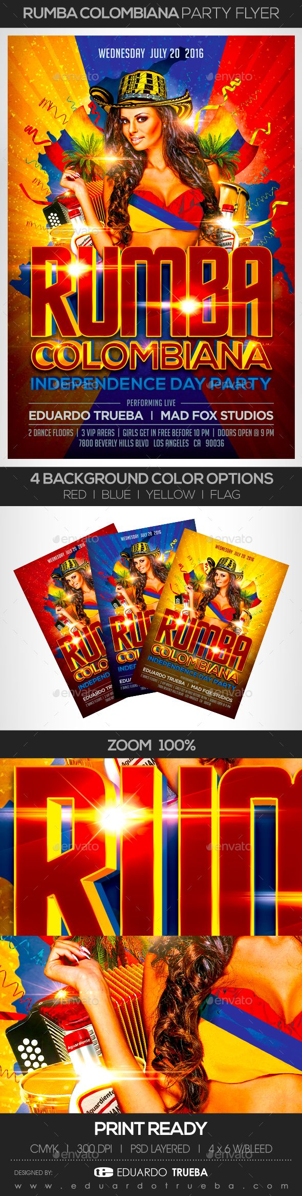 Rumba Colombiana Independence Day Party Flyer — Photoshop PSD #party flyer #colombian independence • Download ➝ https://graphicriver.net/item/rumba-colombiana-independence-day-party-flyer/16993422?ref=pxcr