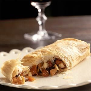 Harvest-Festival Fruit Strudels Recipe | Cooking Light   Ideal for Sukkot, this strudel is made with phyllo dough and filled with fresh apples and mixed dried fruit.  #sukkot  #sukkot_recipes