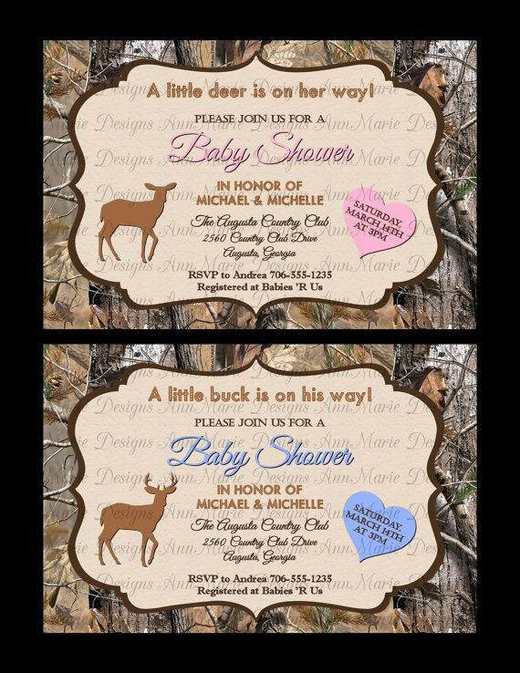 Camo Baby Shower Invitation Pink or Blue Camo by AnnMarieDsgns