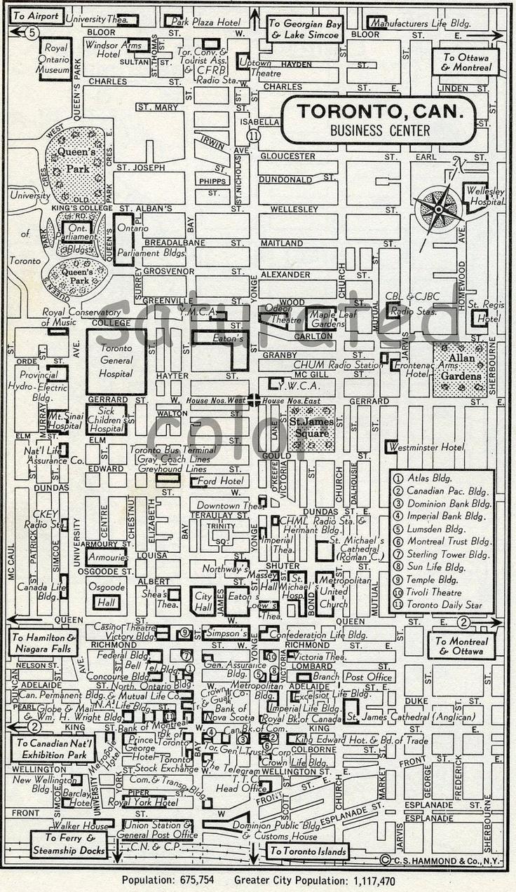 Toronto Canada Map -  Vintage 1950s Original Heart of Toronto