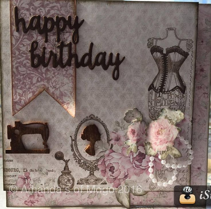 Maja Design sewing card with pearls and roses #amandasofmogo #mogo #cardmaking #handmade #majadesigns #kaisercraft #happybirthdaycard