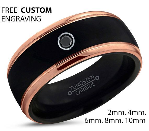Black Tungsten Ring 18k Rose Gold Black Band by BellyssaJewelry