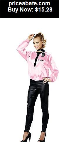 Women-Costumes: 1950s Hip Retro Style Cute Pink Satin Ladies Jacket Adult Halloween Costume - BUY IT NOW ONLY $15.28