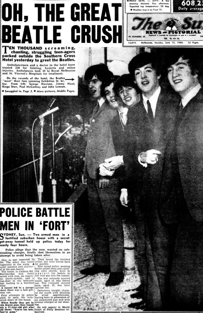 1964: Beatlemania was front page news. Picture: Herald Sun Image Library