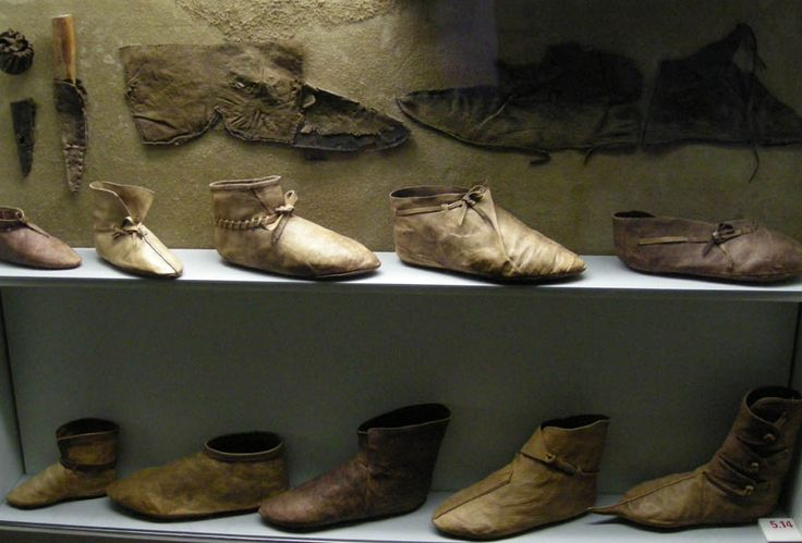 Viking footwear display from the Museum at Haithabu
