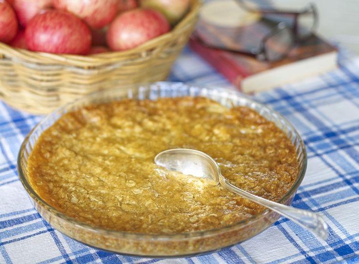 Knäckig paj med äpplen eller rabarber