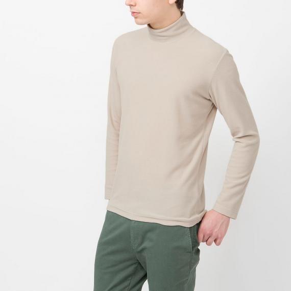 Men heattech fleece mock neck t shirt long sleeve uniqlo for Mock long sleeve t shirts