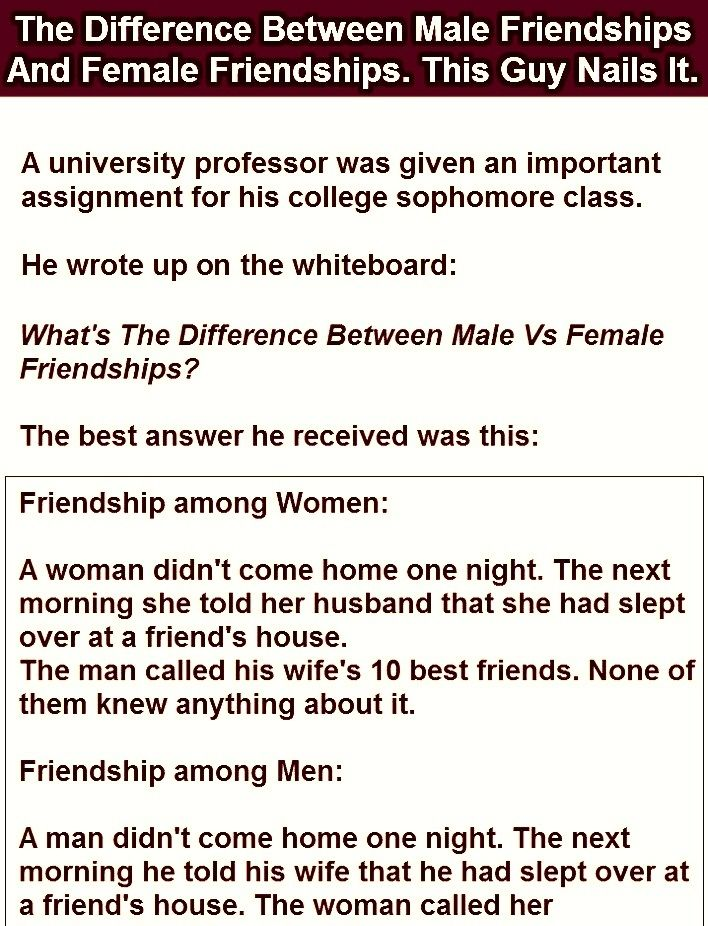 Difference Of The Male And Female Friendship Funny Funny Stuff