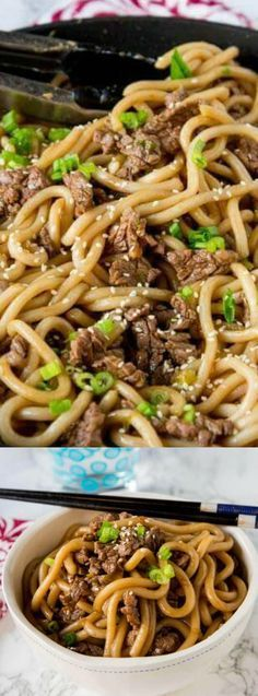 These Garlic Beef Noodle Bowls from Dinner, Dishes, and Desserts are an Asian style noodle bowl made with simple, easy to use delicious ingredients! It's a super flavorful and dinner that your whole family will enjoy!