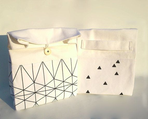 Lunch bag with handle / Modern lunch bag / Geometric by Apozi