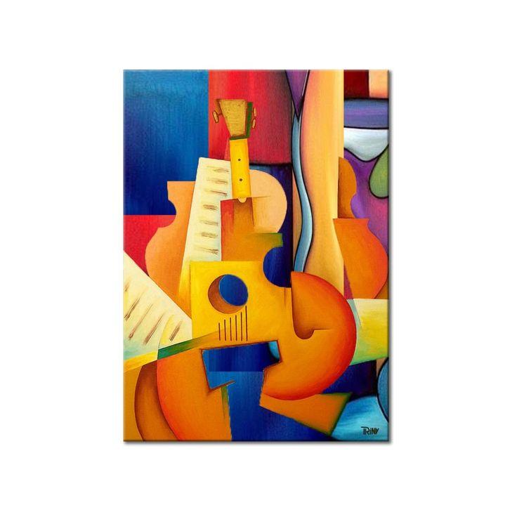 Acryl schilderij 'Composition' op canvas, door Irina. Kleurig kunstwerk met een gitaar en bladmuziek in kubistische stijl, formaat 80 x 100 cm. Bekijk het schilderij in de webwinkel van Kunstvoorjou.nl #kubisme #PopArt #schilderij #muurdecoratie #schilderij #woonkamer #interieur #kantoorkunst